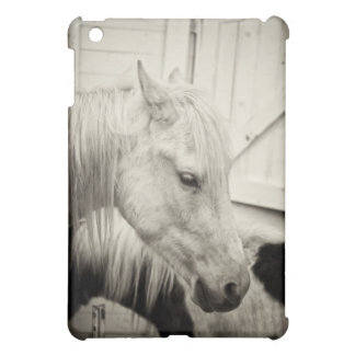 two horses outside a stable- black and white iPad mini covers