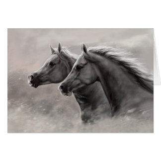 Two Horses Painting Gift Black Stallions Card