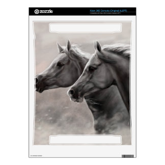 Two Horses Painting Gift Black Stallions Decals For Xbox 360