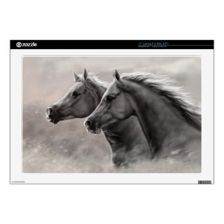 Two Horses Painting Gift Black Stallions Laptop Decals