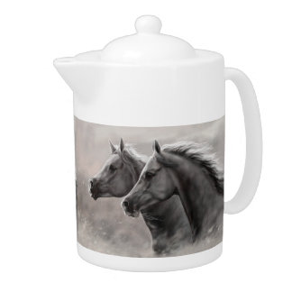 Two Horses Painting Gift Black Stallions Teapot
