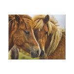 Two horses portrait canvas print