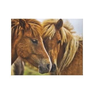 Two horses portrait canvas print