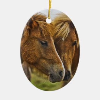 Two horses portrait ceramic ornament