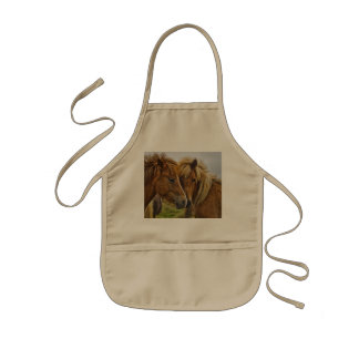 Two horses portrait kids' apron