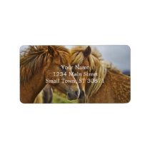 Two horses portrait label