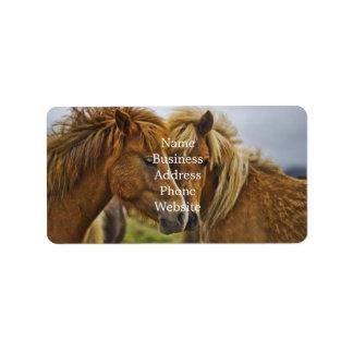Two horses portrait label