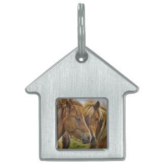 Two horses portrait pet tag