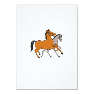 Two Horses Prancing Side Cartoon Card