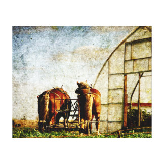 Two Horses Ready for Work Canvas Print