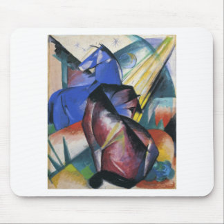 Two Horses, Red and Blue by Franz Marc Mouse Pad