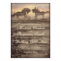 Two Horses Rustic Country Western Wedding Invites