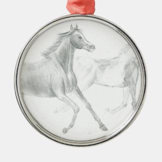 two horses sketch - Gunilla Wachtel Metal Ornament