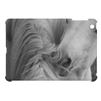 Two Horses Social Grooming B&W Equine Photography iPad Mini Cover