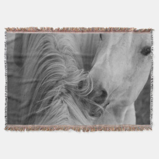Two Horses Social Grooming B&W Equine  Photography Throw