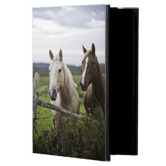 Two horses stand near fence in farm field of off iPad air cover