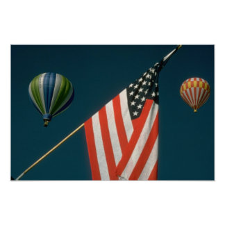 Two Hot Air Baloons W/ American Flag Poster