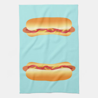 Two Hot Dogs Hand Towels