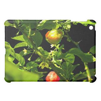 two hot peppers green foliage black back.jpg iPad mini case