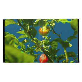 two hot peppers green foliage blue back.jpg iPad folio case