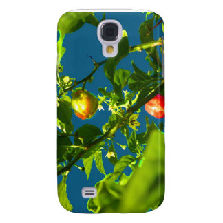 two hot peppers green foliage blue back.jpg galaxy s4 cover