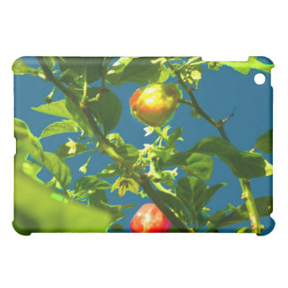 two hot peppers green foliage blue back.jpg iPad mini cases