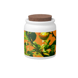 two hot peppers green foliage orange back candy dish