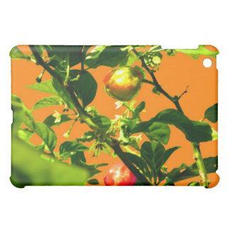 two hot peppers green foliage orange back iPad mini case
