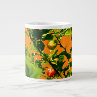 two hot peppers green foliage orange back large coffee mug