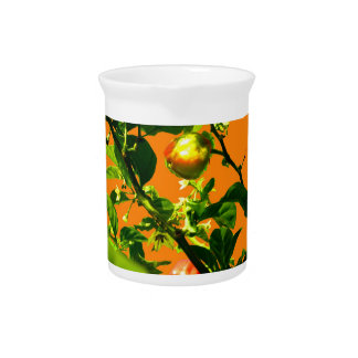 two hot peppers green foliage orange back pitcher