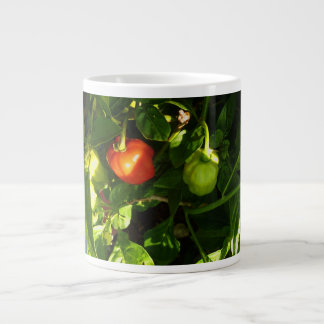 two hot peppers on the plant giant coffee mug