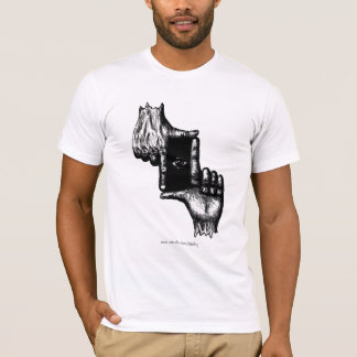 Two human hands and eye pen ink drawing art T-Shirt