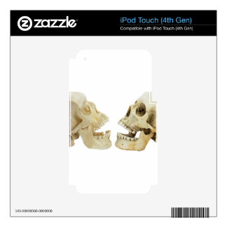 Two human skulls opposite of each other skins for iPod touch 4G