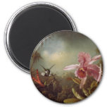 Two Humming Birds and an Orchid 2 Inch Round Magnet