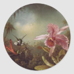 Two Humming Birds and an Orchid Classic Round Sticker