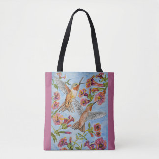 Two Hummingbirds and Red Hibiscus Watercolor Tote