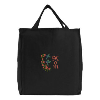 Two Hummingbirds for Mom Embroidered Tote Bag