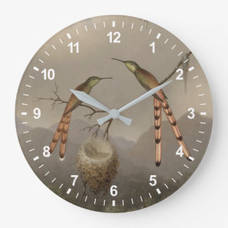 Two Hummingbirds with Their Young Large Clock