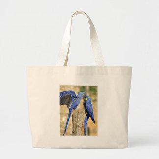 Two Hyacinth macaws Large Tote Bag