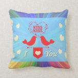 Two I Love You Birds Kiss Kiss Throw Pillow