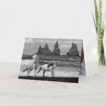 Two Icelandic Horses Leap Horse Greeting Card