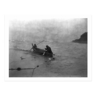Two Indians Fishing on Lake Quinault on Canoe Post Card