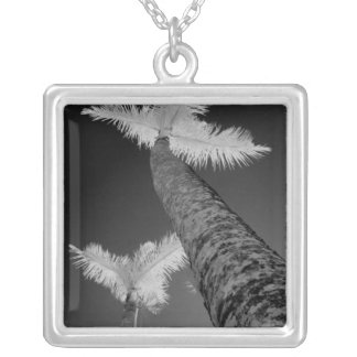 Two infrared palm trees. silver plated necklace