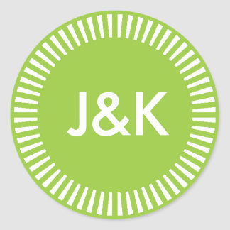 Two Initials Radiant Border, 99CC33 Avocado Green Classic Round Sticker