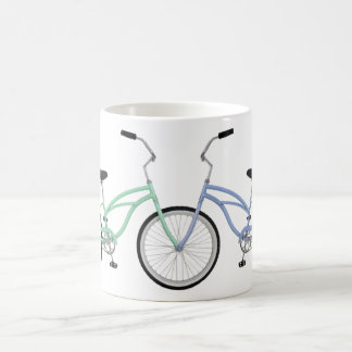 Two interlocked bicycles, green and blue mugs