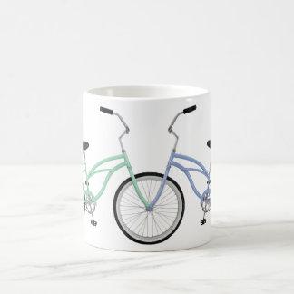 Two interlocking bicycles coffee mug