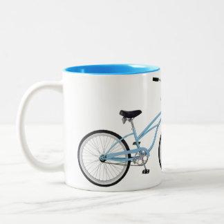 Two interlocking blue bicycles - unique! coffee mug