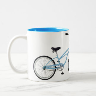 Two interlocking blue bicycles - unique! Two-Tone coffee mug