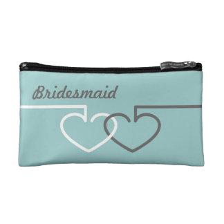 Two Interlocking Hearts Cosmetic Bags