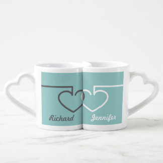 Two Interlocking Hearts Coffee Mug Set